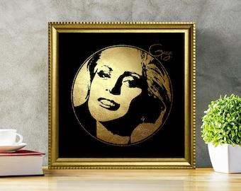 Lady Gaga in Gold - Lady Gaga - Lady Gaga Print - Lady Gaga Poster - Personalities Portraits - Lady Gaga art - illustration - black and gold