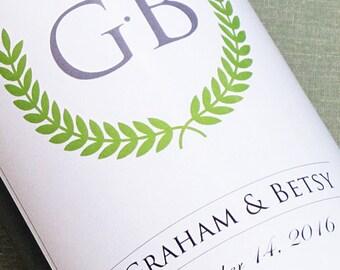 Monogram Wedding Wine Label