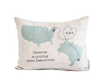 Customized Long Distance Relationship, Personalized Romantic Gifts, Country to Country, State to State, Long Distance Friends, Throw Pillows