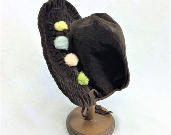 1930s Vintage Brown Velvet Girl's Bonnet with Pom Poms
