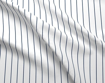 Pinstripe Fabric - Navy Pinstripe On White By Glimmericks - Navy Pinstripe White Modern Cotton Fabric By The Yard With Spoonflower