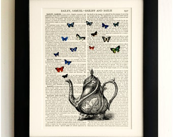FRAMED ART PRINT on old antique book page - Teapot, Butterflies, Insects, Vintage Upcycled Wall Art Print Encyclopaedia Dictionary Page
