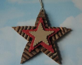 Vintage Folk Art  STAR.Hand Made Christmas Wooden Star Ornament. Primitive Star.