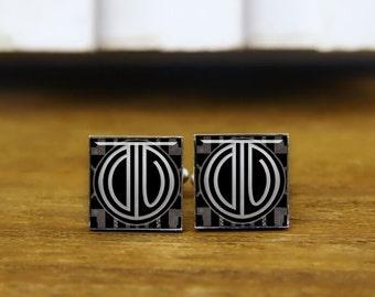 1920s style cufflinks, initial cufflinks, custom round, square cufflinks, wedding monogram cuff links, 1920s film, personalized cufflinks
