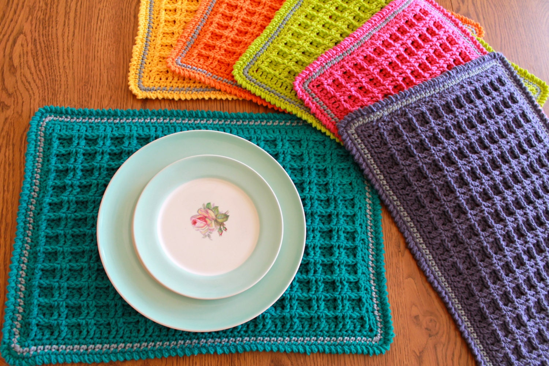 crochet placemat pattern Waffle Stitch Crochet Placemat