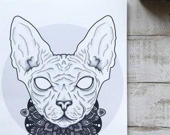 Sphinx Cat Dotwork Print