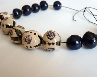 Handpainted beads, hand crafted pottery beads, porcelaine beads