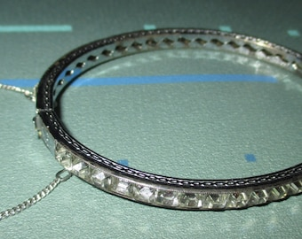 Vintage Art Deco Sterling Silver Crystal Channel Set Hinged Bangle Bracelet