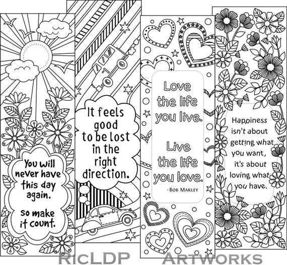 Vibrant image in printable bookmarks for adults