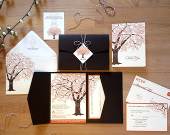 Fall Tree Wedding Invitation Suite, Oak Tree Pocketfold Tag and Twine, Fall Wedding Invite Rustic Wedding Invitation DIY Printable Invite