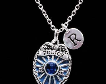 Initial Necklace, Gift For Police Wife, Blue Police Badge Necklace, Police Daughter Valentine Gift, Mother's Day Gift, Necklace
