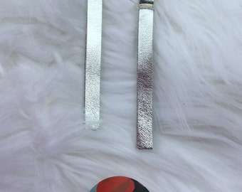 Silver leather earrings with silver tone hardware