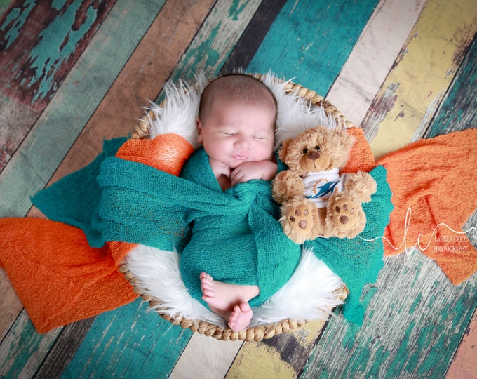 Miami Dolphin Photographer WRAP SET for BOYS - Orange or Teal Swaddle Wrap-  football, Miami Lil Miss Sweet Pea ready to ship