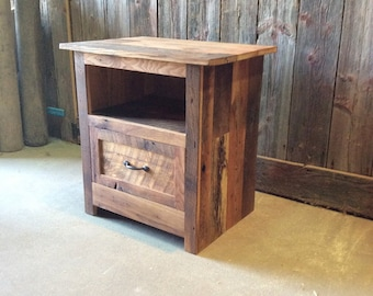 Reclaimed Barn Wood Nightstand / Rustic Bedside Table / Accent Table