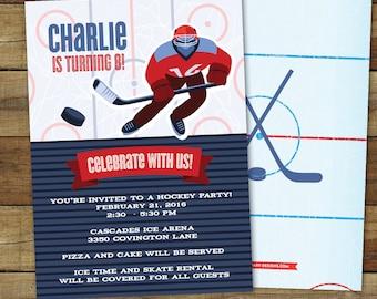 Hockey Birthday Party Invitation, Hockey Party Invitation, Printable Hockey Invitation