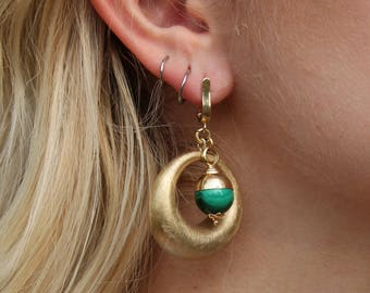 Malachite and Gold Colored Earrings