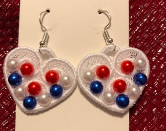 Embroidered Heart Earrings with flat back pearls