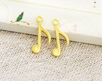 2 of 925 Sterling Silver 24k Gold Vermeil Style Music Note Charms 7x15mm. :vm0887