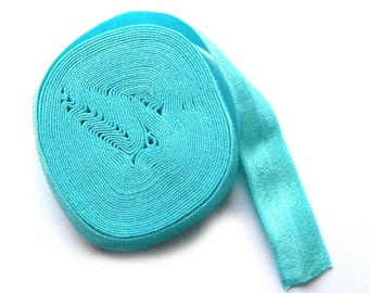 "5 Yard Roll of Turquoise Foldover Elastic FOE 16mm 5/8"" wide"