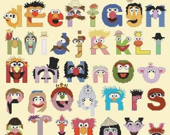 muppet alphabet Cross stitch muppet alphabet pattern abc easy pattern muppet pattern - 272 x 339 stitches -  M557