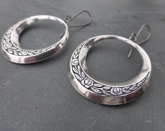 Sterling Silver Plated Floral Gypsy Hoop Earrings With Hypoallergenic Titanium OR Sterling Silver Ear Wires - Boho Hoops - Tribal - Festival