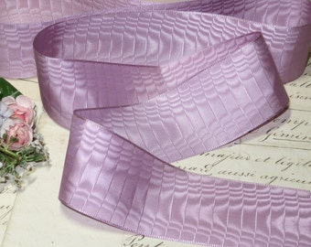 1y Vintage Violet Color Moire Ribbon Millinery Supply Ribbonwork Thin Silky Rayon French Cloche Cocarde Flower