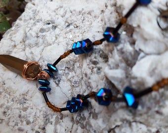 Tigress Aura Collection. Beaded Necklace. Aura Quartz. Hematite. Crystal Jewelry. Boho Jewelry. Statement Jewelry. Gift for Her. Valentines.