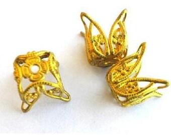 2 Vintage flower shape metal cap beads findings 16mm height