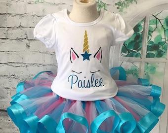 unicorn tutu, unicorn outfit, unicorn shirt, unicorn face shirt, unicorn birthday outfit, unicorn face outfit, personalized unicorn shirt