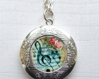 Locket, Photo Locket, Music Lovers Gift, Musical Note Necklace
