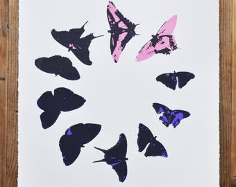 Circle Dawn Butterfly, Limited Edition Print, Printmaking, Wall Art, Screenprint