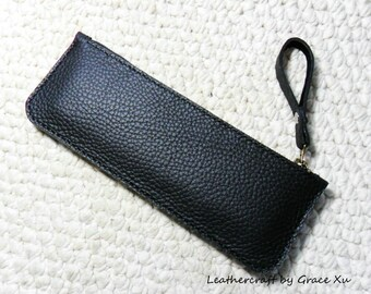 100% hand stitched handmade black cowhide leather pencil / pen case