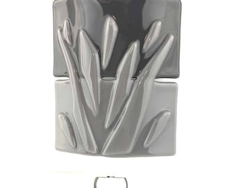 Night Light, Two Tone Gray with Raised Shapes, Decorative Plug In