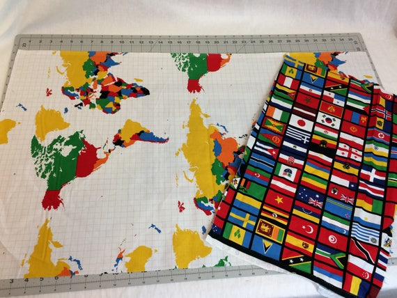 World map fabric cotton quilt fabric remnant pieces map and flags world map fabric cotton quilt fabric remnant pieces map and flags riley blake our world 2 irregular cut pieces over 34 yard total from morelovemama gumiabroncs Images