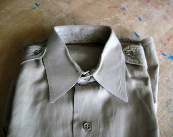 WWII Military Uniform Shirt, Olive Drab, Khaki Shirt, Military Surplus, Army Surplus, Army Uniform, Combat Uniform, Punk Grunge, Army Wear