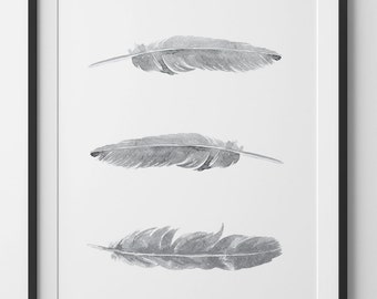 Gray Feathers Print, Grey Watercolor Feathers, Grey Watercolor Print, Feather Wall Art, White Feathers Wall Print, Bohemian Wall Art
