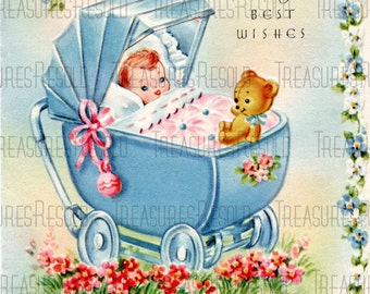 Retro Congratulations New Baby In Buggy Carriage Card #452 Digital Download