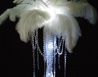 DIY Charming Ostrich Feather Centerpiece with Crystal Garland Top Wedding & Special Occasion Centerpiece