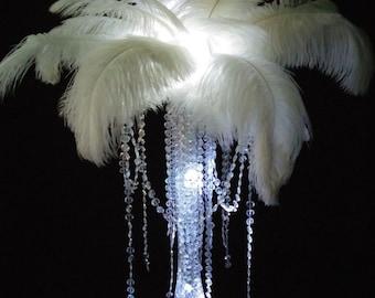DIY Ostrich Feather Diamond Dangles Centerpiece Wedding