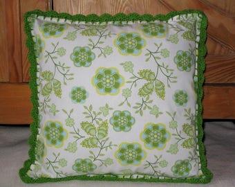 Coussin coton & crochet - Vert / Jaune
