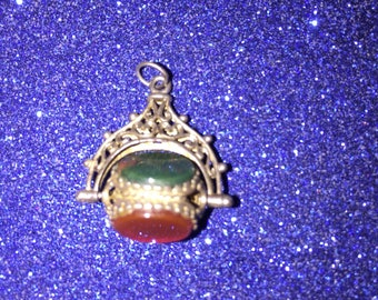 Gorgeous Sterling Pendent Seal with Three Stones c1900