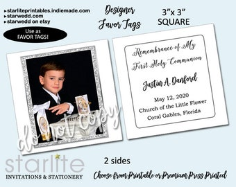 First Communion Favor Tags Boy, Personalized Square White and Silver Glitter Remembrance Cards 3 inch, Communion Cards, Printable or Printed
