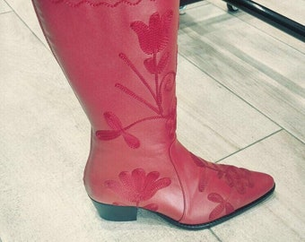 Embroidery tall boots
