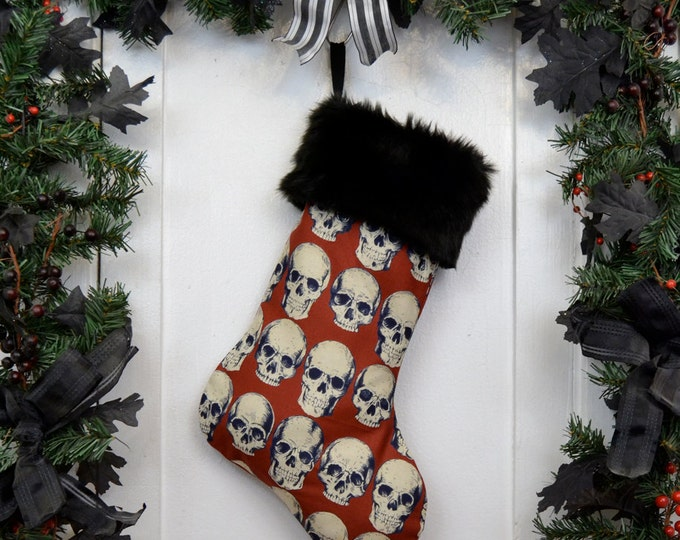 Goth Punk Christmas Stocking Realistic Anatomical Skulls, Rust Red, Halloween Decoration, Black Faux Fur, Horror Fan, Black Canvas Liner