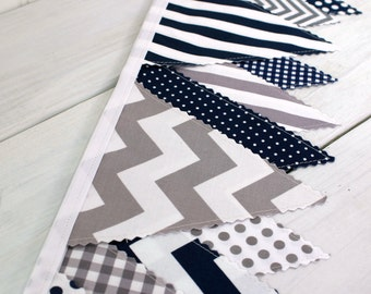 Bunting Banner Garland Fabric Bunting Nursery Bunting Fabric Banner Baby Boy Nursery Decor Navy Blue Gray Grey Chevron Gingham Plaid