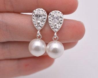 Pearl Bridal Earrings, Pearl and Rhinestone Wedding Earrings, Pearl and Crystal Earrings, Pearl Drop Earrings, Pearl Dangle Earrings 0257