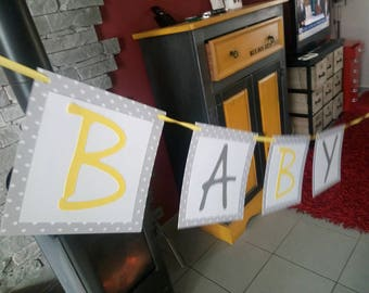 Garland baby shower yellow paper