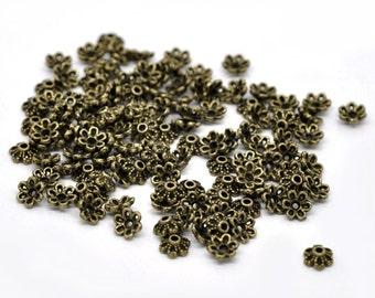 Antiqued Bronze Flower Bead Caps - 6MM
