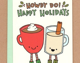 Cowboy Cocoa and Eggnog Holiday Card