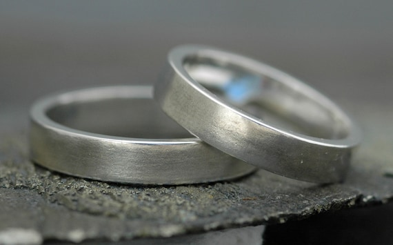 Thick Sterling Silver Bands-  Custom Made Two Ring Set